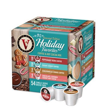 Victor Allen Holiday Variety Pack Single Serve Brew K-Cups, 54 Count