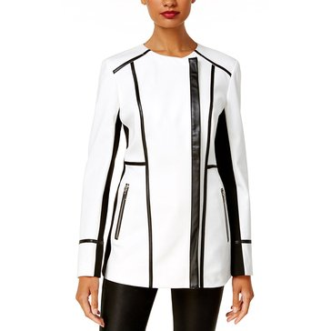 INC International Concepts Jewel Neck Car Coat Black Framing in Washed White
