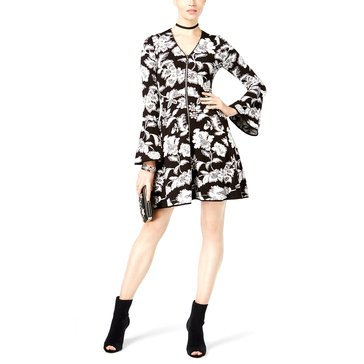 INC International Concepts Floral Puff Print V-Neck Bell Sleeve Fit-N-Flair Top