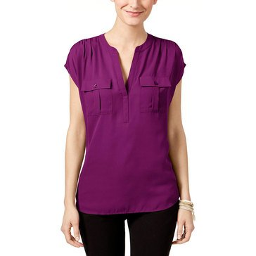 INC International Concepts Woven Front Half  Placket Shirt With Pockets in Purple Paradise