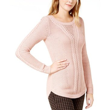 Maison Jules Updated Cable Sweater in Fresco Pink