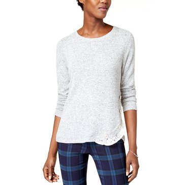 Maison Jules Long Sleeve Heather Snit With Lace Inset at Hem
