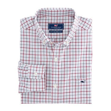 Vineyard Vines Cocktail Club Check Classic Woven Button Down Tucker Shirt in Red