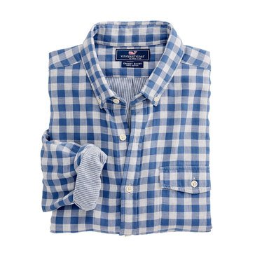 Vineyard Vines Blue Heron Gingham Slim Crosby Shirt