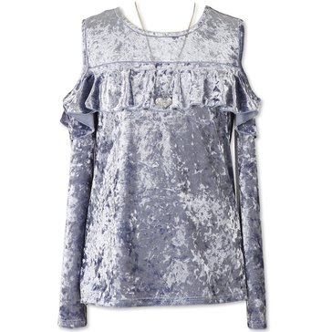 Speechless Big Girls' Crushed Velvet Ruffle Cold Shoulder Top, Chambray