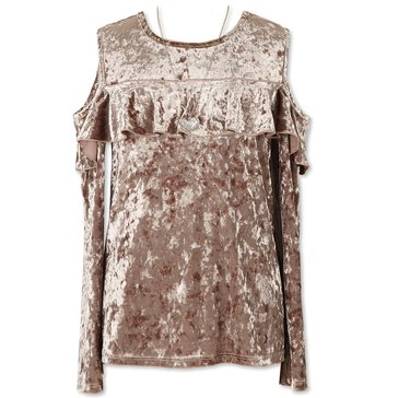 Speechless Big Girls' Crushed Velvet Ruffle Cold Shoulder Top, New Champagne