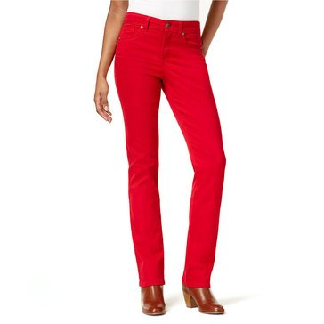 Style & Co Rail Tummy Straight Leg Denim Pants in New Red Amore
