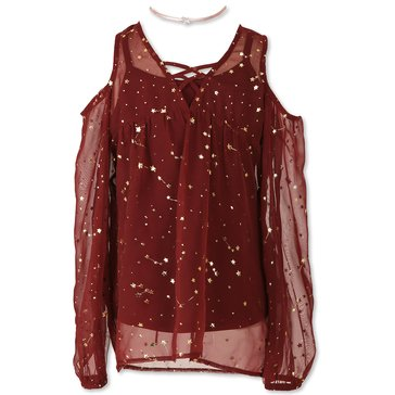 Speechless Big Girls' Star Chiffon Print Cold Shoulder Top, Burgundy