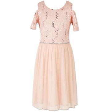 Speechless Big Girls' Lace To Mesh Cold Shoulder Dress, Blush
