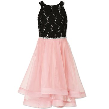 Speechless Big Girls' Lace To Mesh Dress, Blush/Black