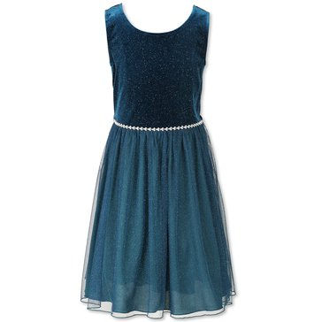 Speechless Big Girls' Velvet To Glitter Mesh Dress, Teal