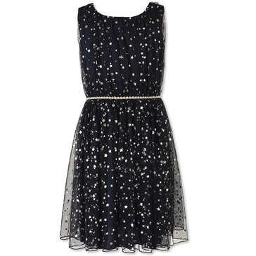 Speechless Big Girls' Tulle Foil Star Dress, Navy/Gold