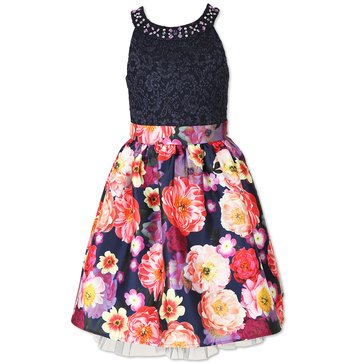 Speechless Big Girls' Lace To Flower Print Dress, Ink/Fuschia