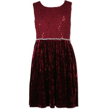 Speechless Big Girls' Lace To Velvet Dress, Burgundy