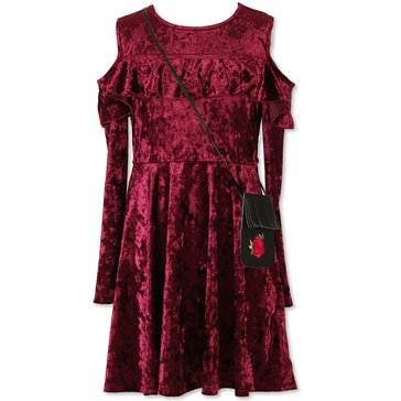 Speechless Big Girls' Crushed Velvet Cold Shoulder Dress, Burgundy