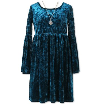 Speechless Big Girls' Crushed Velvet Dress, Dark Blue