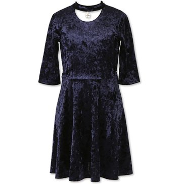 Speechless Big Girls' Crushed Velvet Gigi Dress, Navy