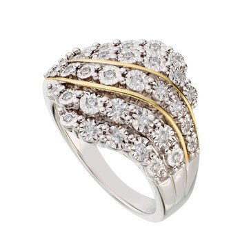 Diamond Ring 1/4 cttw, 14K Gold & Sterling Silver