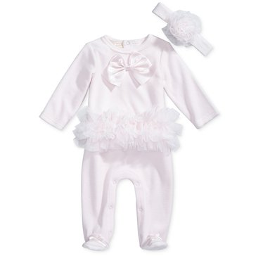 First Impressions Baby Girls' Velour Ballerina Coverall