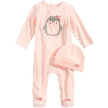 First Impressions Baby Girls' Velour Penguin Coverall