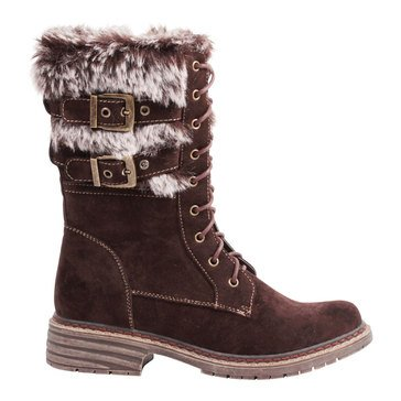 Wanted Pilsner Lace Up Faux Fur Short Boot Brown