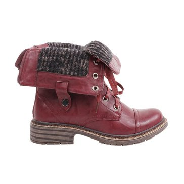 Wanted Crowley Foldover Combat Boot Burgundy