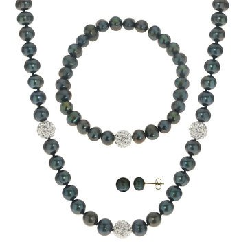 Sterling Silver 6-7mm Dyed Black Freshwater Pearl And Crystal Bead 3-Piece Box Set