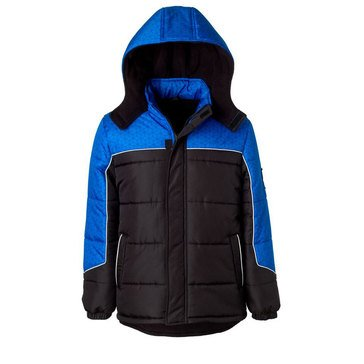 Ixtreme Little Boys' Geo Print Puffer Jacket, Black