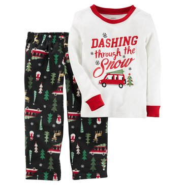 Carter's Little Boys' Christmas Fleece Pajamas, Dashing Through The Snow
