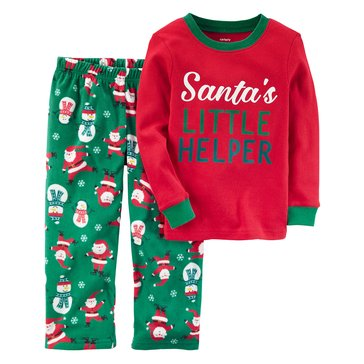 Carter's Little Boys' 2-Piece Christmas Fleece Pajama Set, Santa's Little Helper
