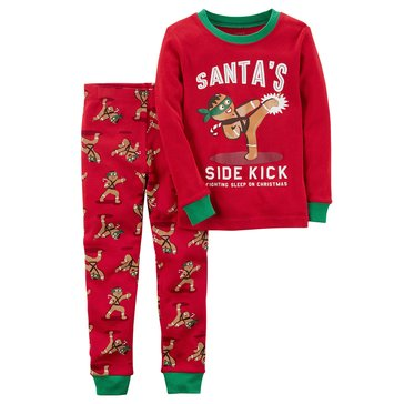 Carter's Little Boys' 2-Piece Cotton Pajama Set, Gingerbread Sidekick
