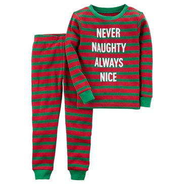 Carter's Little Boy's 2-Piece Christmas Pajama Set, Never Naughty