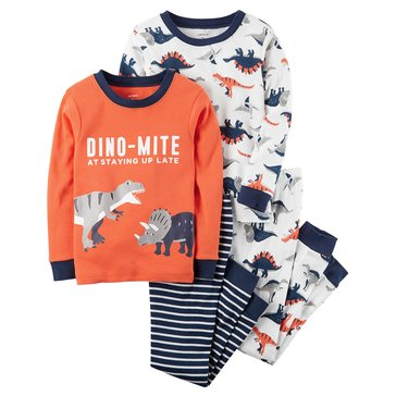 Carter's Little Boys' 4-Piece Pajama Set, Dino Mite At Sleeping