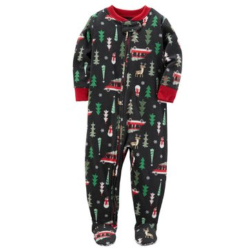 Carter's Toddler Boys' Christmas Fleece Pajamas, Christmas Tree And Car Print