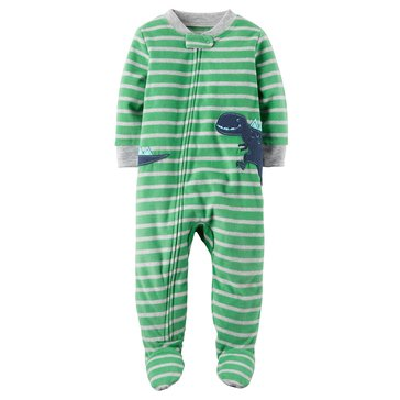 Carter's Toddler Boys' Fleece Pajamas, Green Stripe Dino