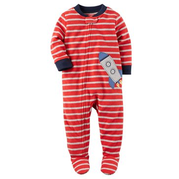 Carter's Toddler Boys' Fleece Pajamas, Red Stripe Rocket