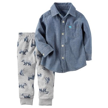 Carter's Toddler Boys' 2-Piece Set Chambray Shirt & Bear Joggers