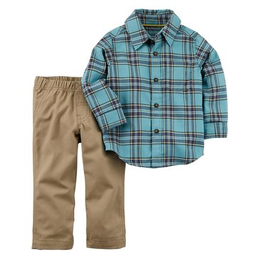 Carter's Toddler Boys' 2-Piece Set Mint Plaid Shirt & Khaki Pants