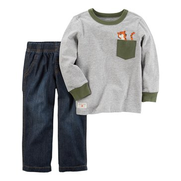 Carter's Toddler Boys' 2-Piece Set Tiger Pocket Shirt & Denim Pants