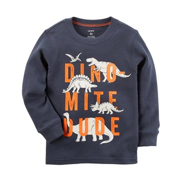 Carter's Toddler Boys' Dino-mite Dude Thermal Tee, Navy