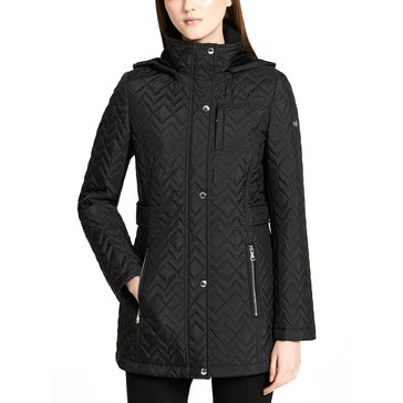Calvin Klein Women's Zig Zag Long Quilted Coat