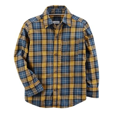 Carter's Toddler Boys' Plaid Flannel Shirt, Navy Yellow