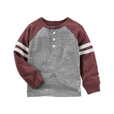 Oshkosh Little Boys' Raglan Henley, Grey