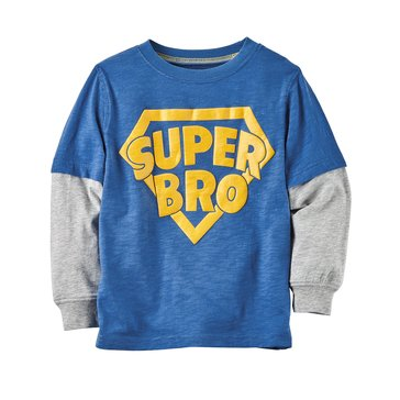 Carter's Little Boys' Super Bro Double Decker Tee, Blue
