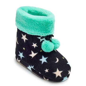 PJ Couture Women's Plush Bootie Slippers Black Star