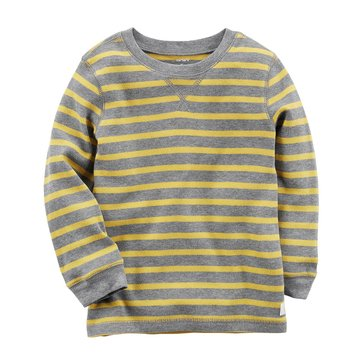 Carter's Little Boys' Striped Thermal Tee, Yellow/ Grey