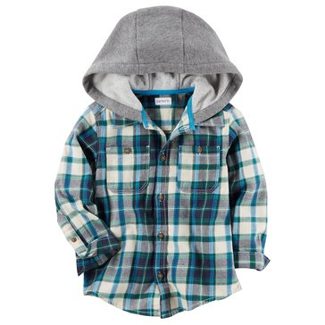 Carter's Little Boys' Blue Plaid Hooded Flannel Shirt