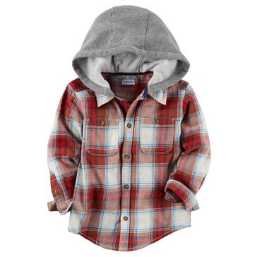 Carter's Little Boys' Burgundy Plaid Hooded Flannel Shirt