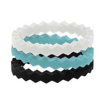 Qalo Women's Stackable Rings, Set of 3, Collection B
