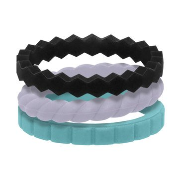 Qalo Women's Stackable Rings, Set of 3, Collection C